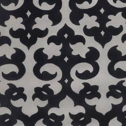 Black Velvet Damask on Matte Silver