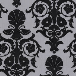 Black Velvet Medallion Damask on Matte Silver