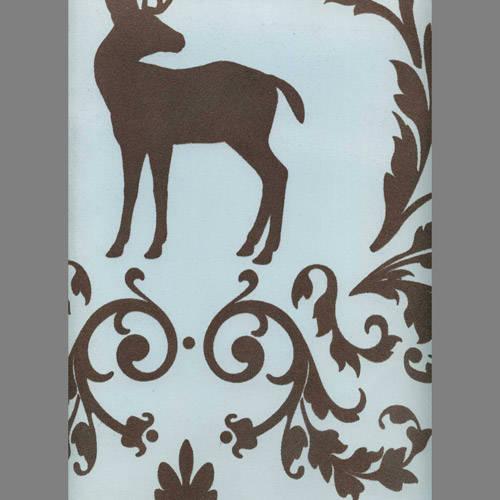 Brown Velvet Deer & Birds on Light Blue