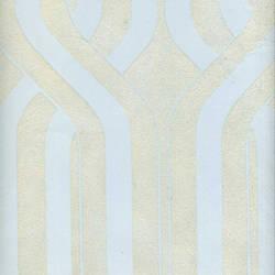 Beige Geometric Stripe on Light Blue
