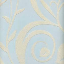 Beige Velvet Heart Leaf Damask on Light Blue