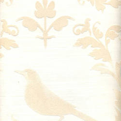 Beige Velvet Deer & Birds on White