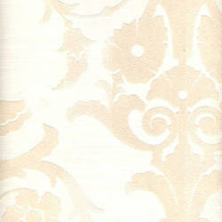 Beige on White Damask Medallion