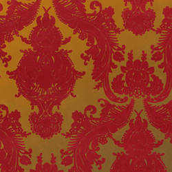 Red Velvet Heirloom Damask on Gold Mylar