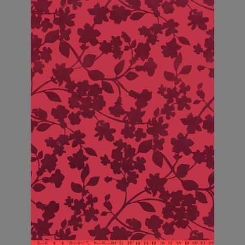 Burgundy Ivy velvet flock wallpaper: VCC0623