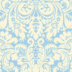 Yellow and Blue Urbana screen printed modern damask wallpaper: VCC0607