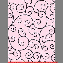 Black & Pink Scroll velvet flock wallpaper: VCC0643