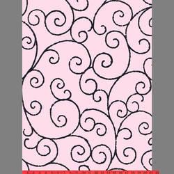 Black & Pink Scroll velvet flock wallpaper: VCC0643