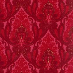 Burgundy and Red Kismet Ornate Indian damask velvet flocked wallcovering: VCC0648