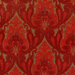 Burgundy and Red Velvet Ornate Indian Damask on Gold Mylar