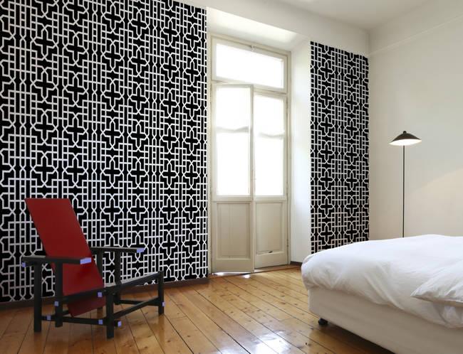 Urban Geometric custom digital wallpaper: Black and White