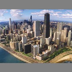 Inner city lights mural designyourwall for Chicago skyline mural wallpaper