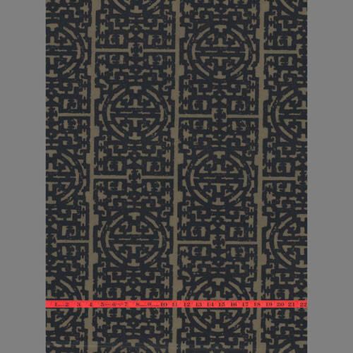 Black & Gold Matte Asian velvet flocked wallcovering: RVVIE