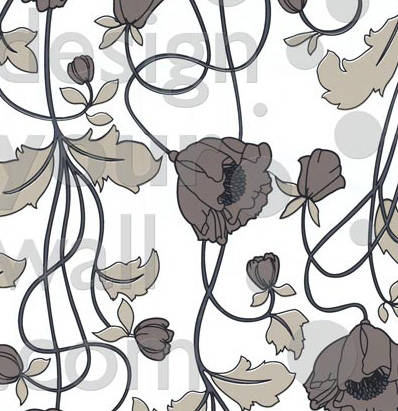Poppy vintage-modern screen printed floral wallpaper: TLL04