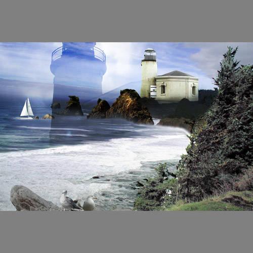 Lighthouse seascape custom mural wallpaper