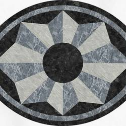 Grey Oval Medallion Floor Covering