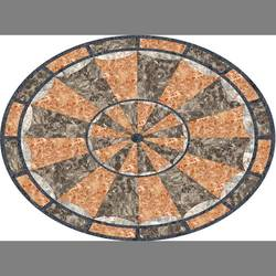 Orange Oval Medallion Floor Covering