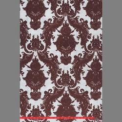 Burgundy Heirloom velvet flocked wallcovering: VCC0603