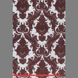 Burgundy Heirloom velvet flocked wallcovering: VCC0603