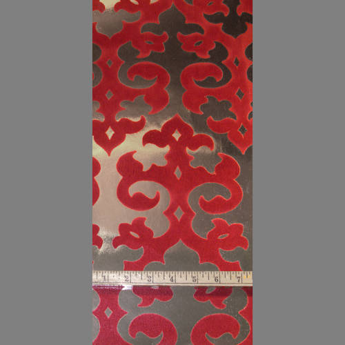 Burgundy Grill velvet flocked wallcovering: VCC0602