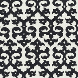 Black Velvet Damask on White