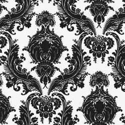 Black Heirloom damask screen printed modern retro wallpaper: RVv11