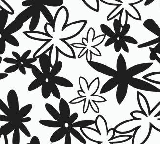 Funky Floral retro-modern screen printed wallpaper: TLL12