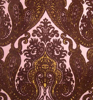 purple kismet ornate indian damask velvet flock wallpaper
