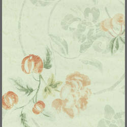 Light Green and Red comtemporary floral wallcovering: 543334