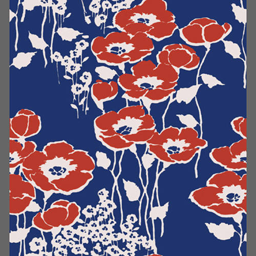 Red Poppy Flower Custom Vintage Floral Wallpaper Click To Zoom