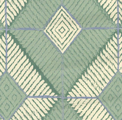Green and Off-White Diamonds - African Geometric Pattern