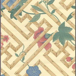 Ethnic bamboo and floral wallcovering: 544812