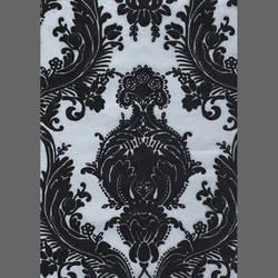Matte Silver Wallpaper with Black Velvet Flock