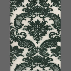 Green Damask custom velvet flock wallcovering: RL4