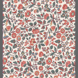 Coral and Beige traditional floral wallpaper: 540130