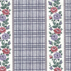Traditional floral wallpaper with stripes and plaid: hc2012