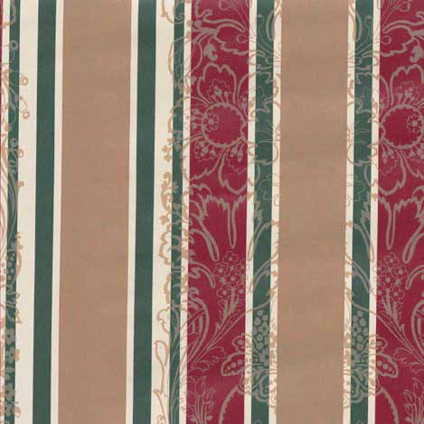 Red, Khaki, Green, White Floral Striped wallpaper: HC2114
