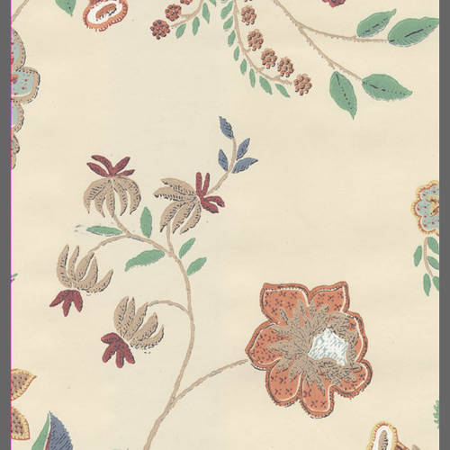 Traditional beige and red floral wallpaper: 506553