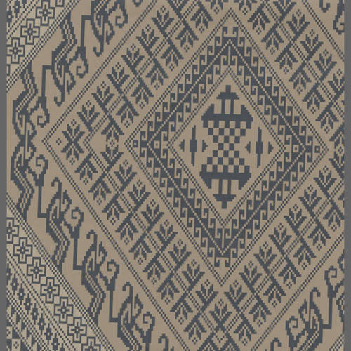 Early Americana Blue & Brown harlequin wallcovering: 520542