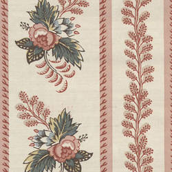 Striped Pink and Off-White floral traditional wallpaper: VL4074