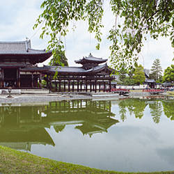 Pond in front of a temple, Byodo-In Temple, Uji, Kyoto Prefecture, Kinki Region, Honshu, Japan