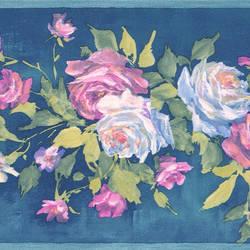 Rosa blue Floral Bouquet Border 413B04960