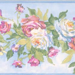 Rosa light blue Floral Bouquet Border 413B04961