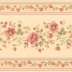 Linda Beige Floral Stripe Border 413B05573