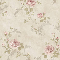 Gracie Grey Floral Scroll Wallpaper