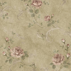 Gracie Brown Floral Scroll Wallpaper
