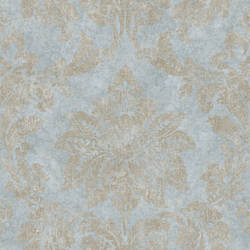 Giles Ocean Patina Damask Wallpaper