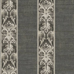 Elsa Black Alternating Damask Stripe Wallpaper