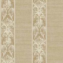 Elsa Gold Alternating Damask Stripe Wallpaper