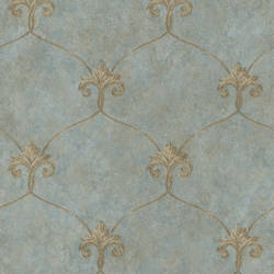 Tuscan Blue Shimmering Ogee Wallpaper